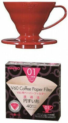 Hario V60 Red Coffee Dripper 01 with Misarashi Paper Filters 40 Sheets &...