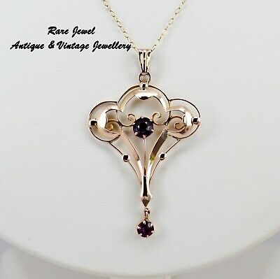 Art Nouveau 9Ct Gold Pendant Beautiful Amethyst Design Antique Jewellery