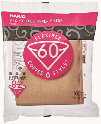 Hario V60 Dripper Coffee Paper Filters, Pack of 100 Size 02-100pcs, Natural
