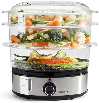 Sensio Home Stainless Steel 3 Tier Vegetable Steamer for Cooking with Timer...