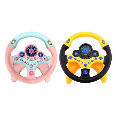 Kids Toy Car Simulation Steering Wheel with LED Turn Light and Alarm Button