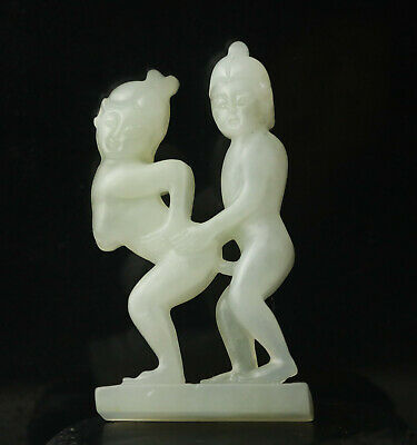 Old Chinese natural jade hand-carved statue of man and woman