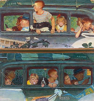 "Norman Rockwell print ""THE OUTING""/""GOING and COMING HOME"" family vacation 11x15"