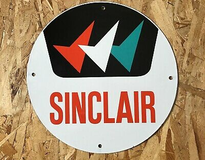 Vintage Sinclair Gasoline Triple Check Porcelain Sign Gas Oil Pump Plate Station