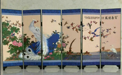Chinese Lacquer Handwork Painting Birds And Phoenix Screen Decoration