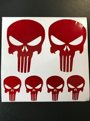 6 Sticker Retro Reflechissant  Rouge Tete De Mort Casque Skull Punisher Moto