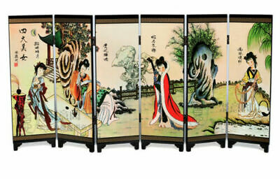 Chinese Lacquer Handwork Painting Four Beauties Belle Screen Decoration