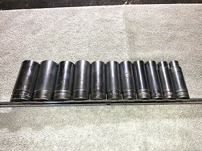 "Snap-On 11 piece  1/2"" - 1 1/8"" deep Socket Set 1/2"" drive"