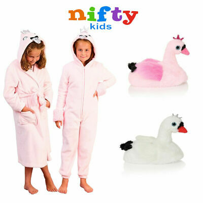 Nifty Kids Swan Luxury Soft Fleece Nightwear Girls 3D Novelty Animal Loungewear