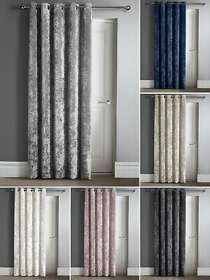Luxury Crushed Velvet Door Curtain Panel Eyelet Ring Top Ready Made Thick Fabric