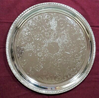 "13"" SILVERPLATE SERVING TRAY GADROON by IRVINWARE USA"