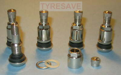 4 Chrome Plated Clamp-In Car/Van High Pressure Tyre Valves MS525S for Alloys