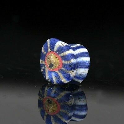 Ancient Roman Times beads: Egyptian mosaic cane glass bead, 1 century BC-1 AD
