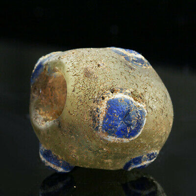 Ancient glass beads: Large genuine ancient Roman bead with mosaic cane eyes