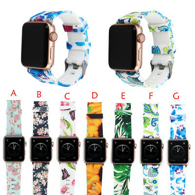 40/44mm Silicone Floral iWatch Band Women Strap for Apple Watch Series 5 4 3 2 1