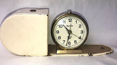 Rare Vintage Bulova Quartz Chime & Alarm Travel Clock With  Case ~ Germany