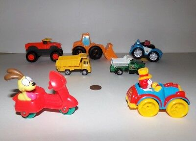 Fisher Price Little People Police Car, Tractor and Dump Trucks Lot of 6 Toys