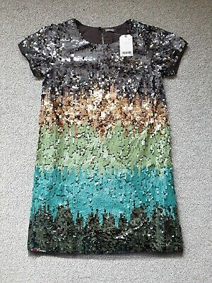 Next Girls Mint Green Blue Sequin Party Dress - Age 13 Years BNWT