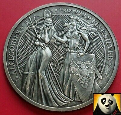 2019 Allegories Britannia & Germania Mint 5 Mark Silver Antique 1oz Coin