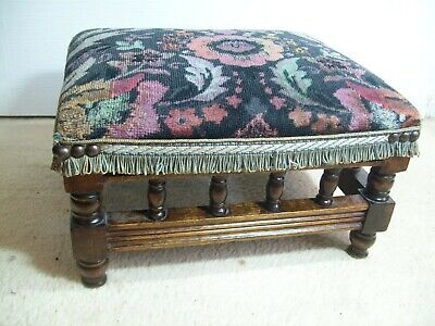 Antique Small Solid Wood Foot Stool With Tapestry Top