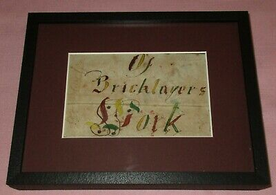 Antique 19th C American Folk Art Watercolor Fraktur Bookmark Bricklayers Masons