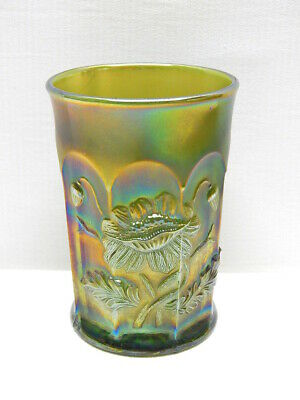 "Antique Northwood Green Carnival Glass ""Oriental Poppy"" Tumbler   #3"