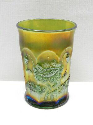 "Antique Northwood Green Carnival Glass ""Oriental Poppy"" Tumbler   #4"