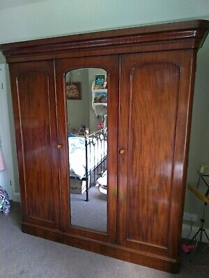 Antique Victorian 3 Door Mahogany Wardrobe, full length mirror and draws