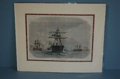 Antique Victorian Hand Tinted Wood Cut Engraving French Ironclad Fleet c1870