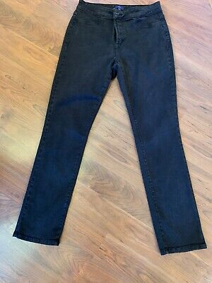 "NYDJ Brown ""Legging"" Stretch Straight Leg Pants Mid-Rise Brown Size 10"