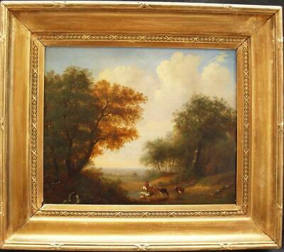 EARLY 19th CENTURY EXTENSIVE LANDSCAPE CATTLE & DROVER Antique Oil Painting