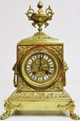 Stunning Antique French 8 Day Striking Pierced Bronze Cube Mantel Clock