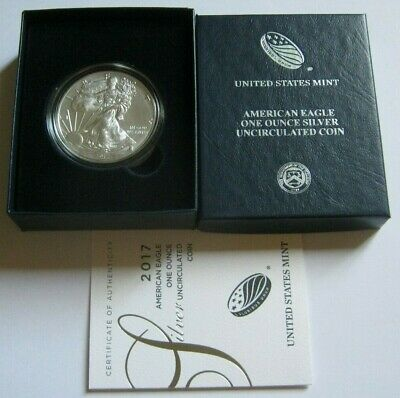 2017-W BURNISHED AMERICAN SILVER EAGLE COIN ~with U.S. Mint Box & COA~