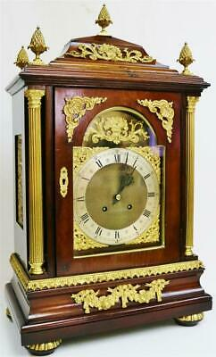 Rare Large Antique German Mahogany & Ormolu Ting Tang Musical Bracket Clock