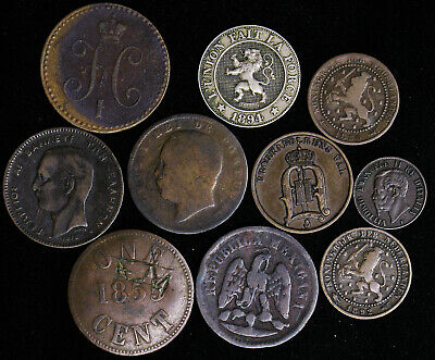 Lot of 10 Old World Foreign 1800's Coins Russia Mexico Sweden Greece Canada Neth