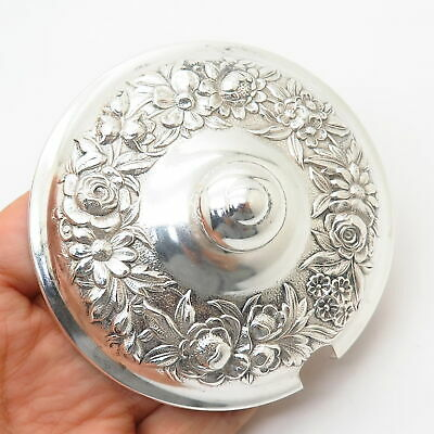 925 Sterling Silver Antique S. Kirk & Son Floral Repousse Sugar / Jam Bowl Lid