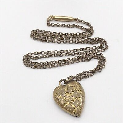 ANTIQUE VICTORIAN 9ct ROLLED GOLD LADIES LOVE HEART PENDANT NECKLACE CHAIN