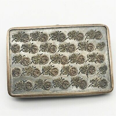Antique Victorian Solid Sterling Silver Mourning Locket Roses Ladies Pin Brooch