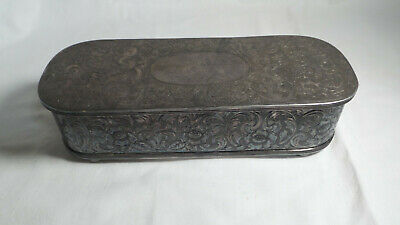 Antique/Vintage Silver Plated Engraved Fancy Oxidized Silk Lined Jewel Casket Je
