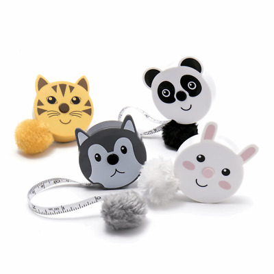 "Fluffy Animals Tape Measure Retractable 150cm/60"" Pom Pom Tail"
