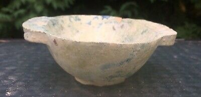 Early Chinese Antique Terra Cotta Pottery Green Glazed Ear Cup Bowl EX-PISCOPO
