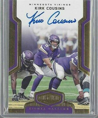 Kirk Cousins 2018 Plates & Patches Signal Callers Gold On Card Auto #D 12/15