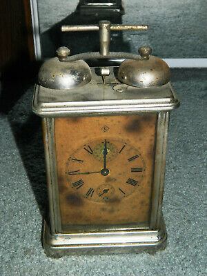 ANTIQUE  CARRIAGE CLOCK W/ DOUBLE EXTERIOR ALARM BELL for Parts or Restoration