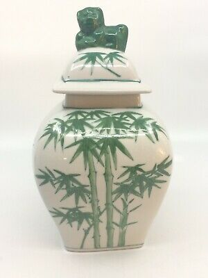 """Vintage Ginger Jar White Green Bamboo Bear or Lion Finial 8"""" High Square Lid"""