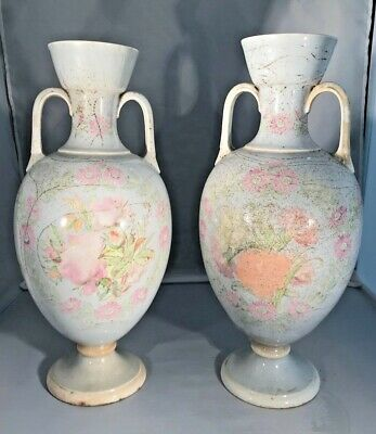 Pair of Antique Porcelain Urn/ Vases 14.5 tall, Base 4.5, Beautiful Detail