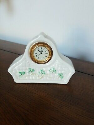 Belleek Ireland Small Mantle Clock Basketweave Shamrocks