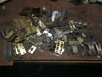 Large lot of 36 antique/salvage door hinges, hardware, Victorian era iron