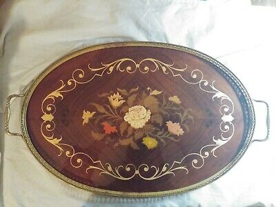 Mid Century Italy Wood Marquetry Floral Inlay & Brass Handled Serving Tray