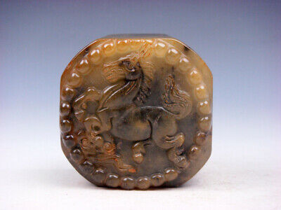 Old Nephrite Jade Carved Seal Paperweight Sculpture Running Horse #08141901