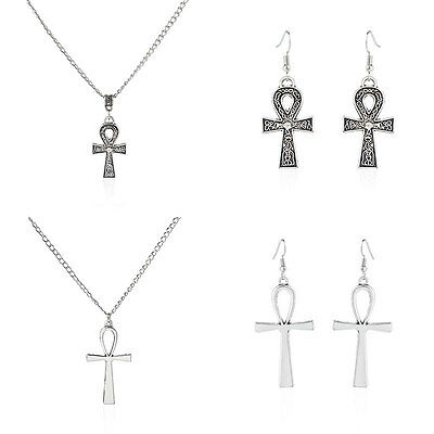 1PCS Antique Silver Luck Egyptian Ankh Cross Pendant Necklace Earring Jewelry